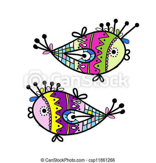 Sketch of funny fishes for your design - csp11861266