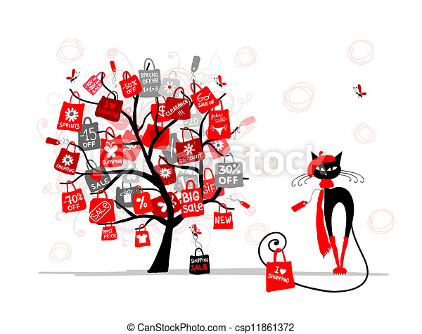 Season sale tree, fashion cat with shopping bag for your design - csp11861372