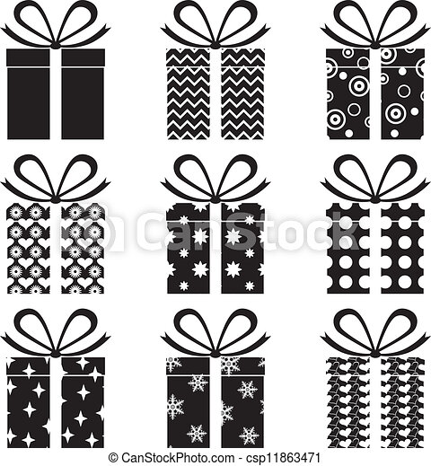 Vectors Illustration of Gift Boxes - A set of black and white gift ...