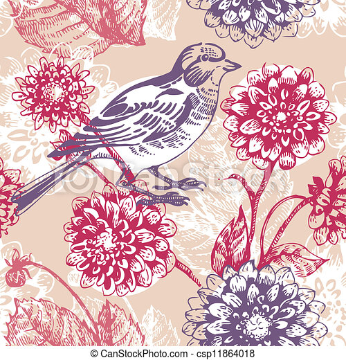 Floral seamless pattern with bird  - csp11864018