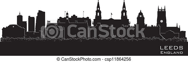 Leeds, England skyline. Detailed vector silhouette - csp11864256