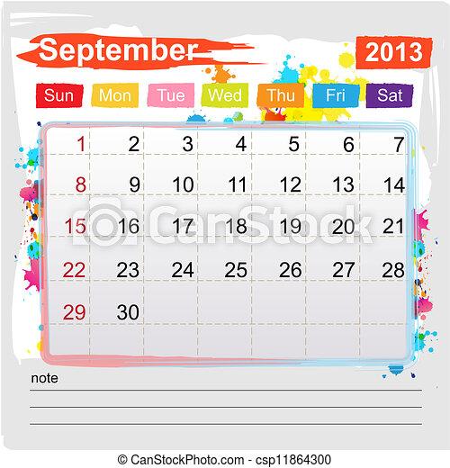 Vetor - Calend  225 rio  setembro  2013 - estoque de ilustra  231   227 o    Calendario Septiembre 2013