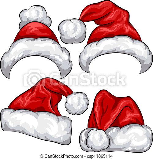 Vector Clip Art of vector set red Christmas Santa Claus hats ...