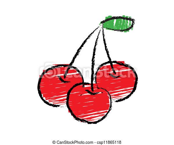 Sketch of cherry vector - csp11865118