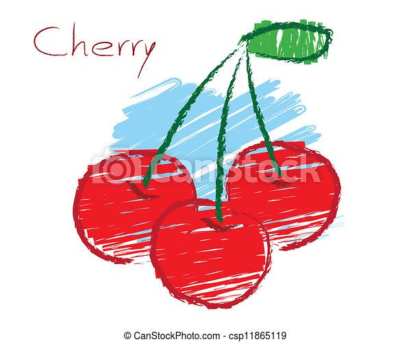 Sketch of cherry vector - csp11865119