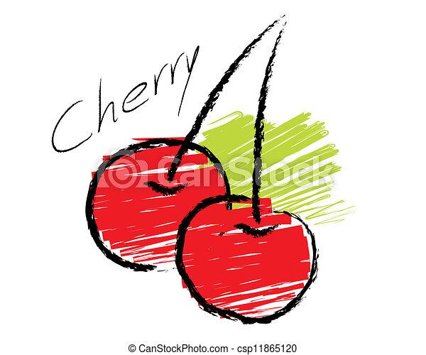 Sketch of cherry vector - csp11865120