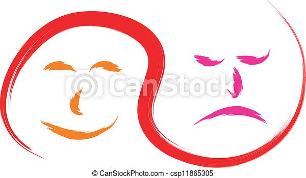 Carita Feliz Triste Feliz Triste Caras Csp11865305