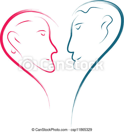 Vector - love faces - stock illustration, royalty free illustrations ...