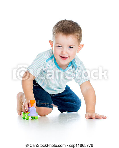 funny boy kid playing with toy - csp11865778