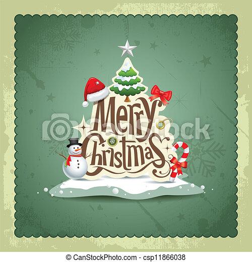 Merry Christmas vintage design  - csp11866038