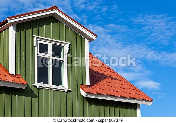Residential Roof Top under the Bright Blue Sky - csp11867379