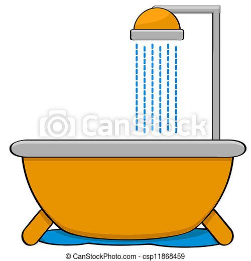 bagno Doccia disegno : ... , illustrazione, esposizione, ?, vasca bagno, con, ?, doccia, testa