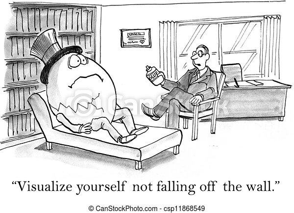 Visualize yourself not falling off the wall - csp11868549
