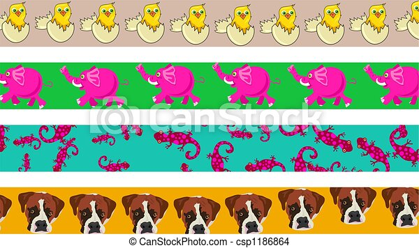 Drawing of animal borders - set of four cute and colourful animal ...