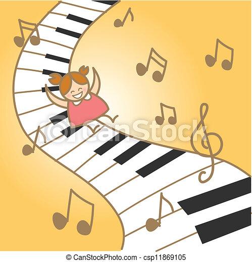 她, fantasry, 快樂, 音樂, 女孩, 鋼琴 - csp11869105