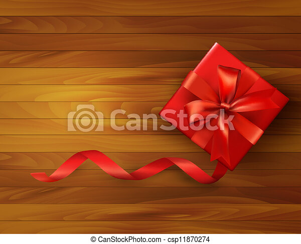Holiday background with gift box and red bow. Vector illustration. - csp11870274
