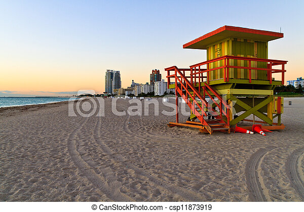 Sunrise and cabin on the beach, Miami Beach, Florida, USA - csp11873919