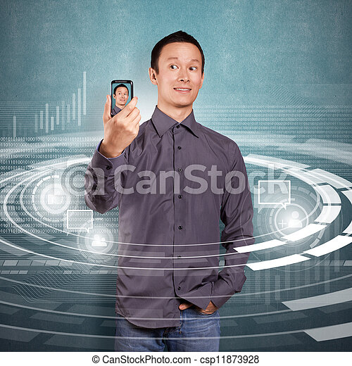 Asian Man Making An Avatar - csp11873928