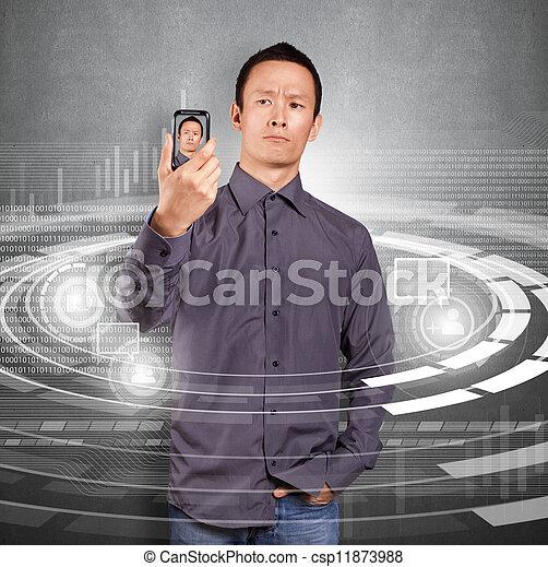 Asian Man Making An Avatar - csp11873988