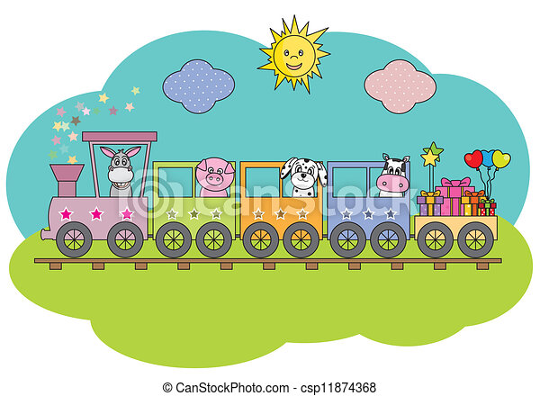 Train with farm animals - csp11874368