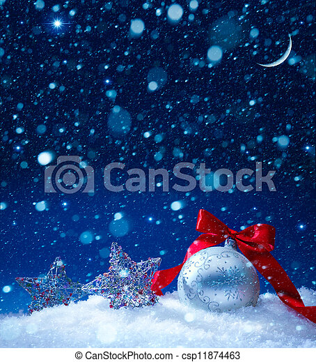 art snow christmas decoration magic lights background - csp11874463