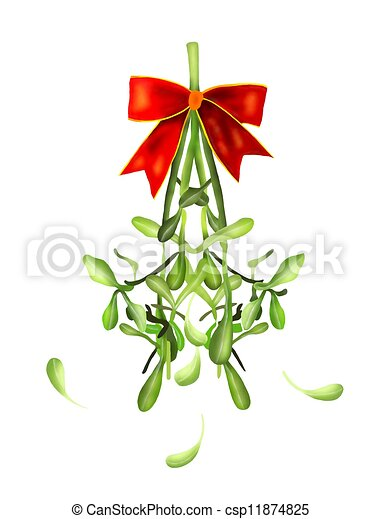 Hanging Green Mistletoe with A Red Bow - csp11874825