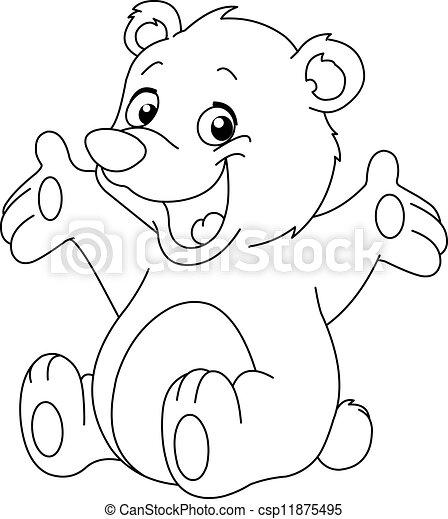 Vector - Outlined happy teddy bear - stock illustration, royalty free ...