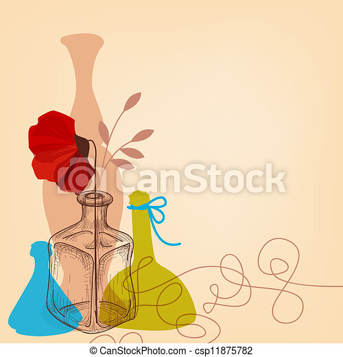 Vector of Lifestyle illustration with flower vases and bottles ...