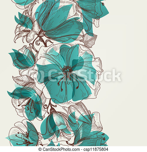 Flower seamless pattern vector - csp11875804