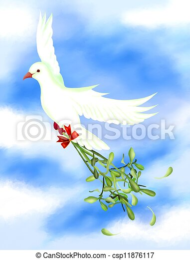 White Bird Carrying A Green Mistletoe in The Sky - csp11876117