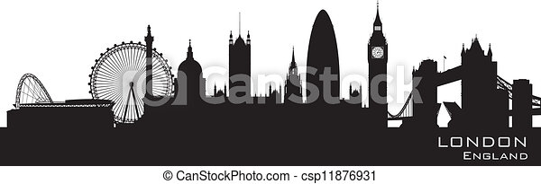 London, England skyline. Detailed vector silhouette - csp11876931