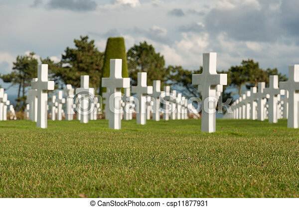 American military cemetery of the fallen during the landing in Normandy on D Day - csp11877931