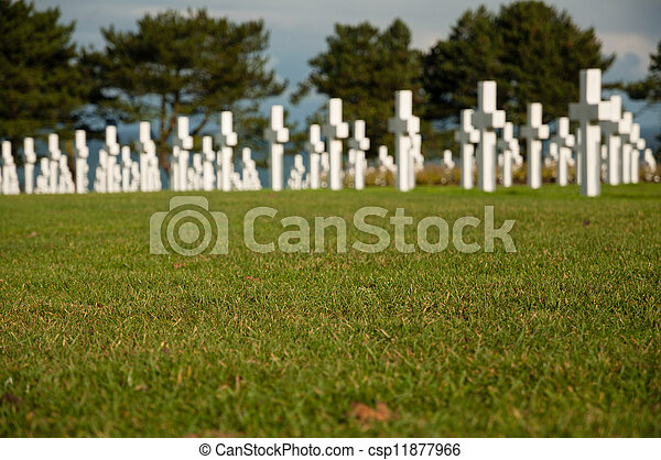 American military cemetery of the fallen during the landing in Normandy on D Day - csp11877966