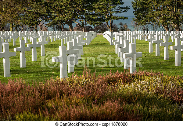 American military cemetery of the fallen during the landing in Normandy on D Day - csp11878020