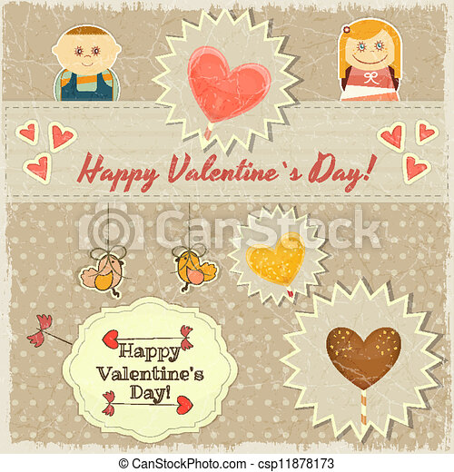 Vintage Valentines Day Card with Sweet Hearts - csp11878173