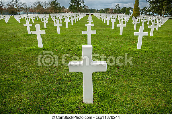 American military cemetery of the fallen during the landing in Normandy on D Day - csp11878244