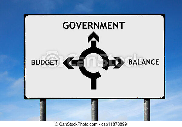 Road sign with roundabout directions pointing towards government budget and balance - csp11878899