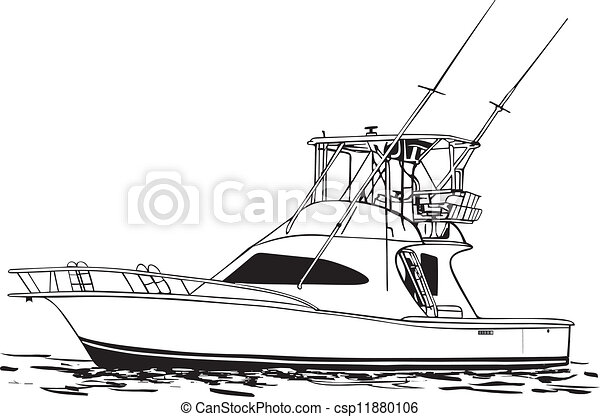 Vector Clipart of Sport Fishing Boat - Offshore Sport ...