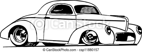 Clipart Vector of Hot Rod Coupe - Line drawing of Hot Rod ...