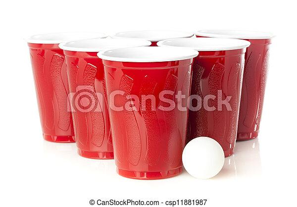 Red Beer Pong Cups - csp11881987