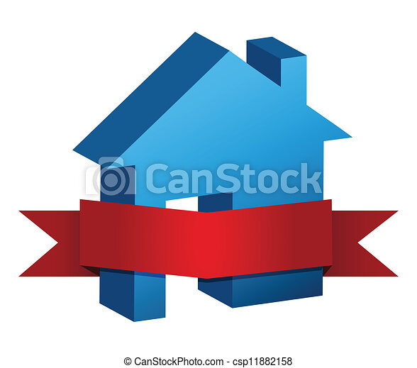 Clipart Vector of blue house and red banner illustration design ...