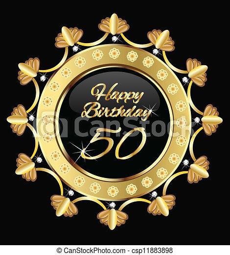 Vector , oro, 50, cumpleaños, diseño, feliz