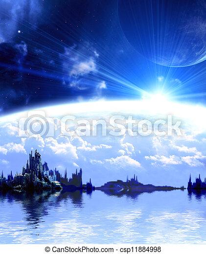 Landscape in fantasy planet - csp11884998