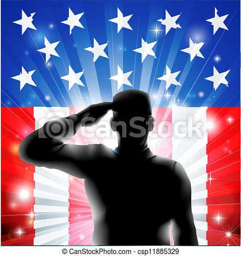 US flag military soldier saluting in silhouette - csp11885329