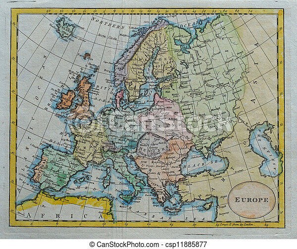original antique europe  map - csp11885877