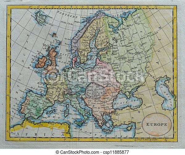 original antique europe  map - csp11885877