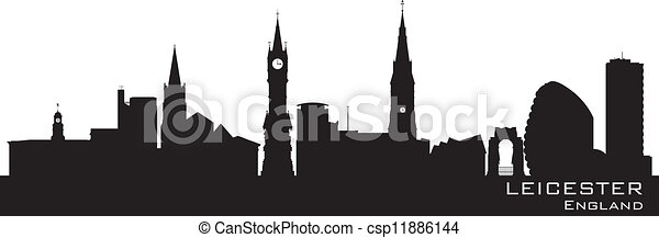 Leicester, England skyline. Detailed silhouette - csp11886144