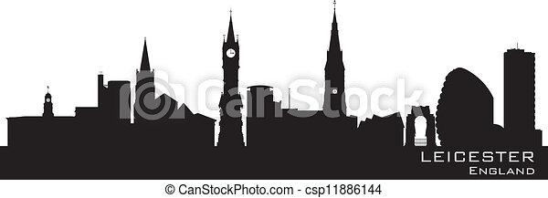 Leicester, England skyline. Detailed silhouette - csp11886144