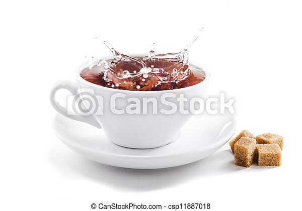 fresh healthy tea splash in a tea-cup - csp11887018