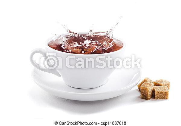 fresh healthy tea splash in a tea-cup - csp11887018
